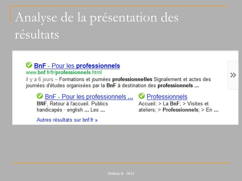 Analyse de la présentation des résultats Dollara.fr - 2013