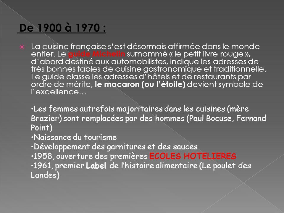 La cuisine française sest désormais affirmée dans le monde entier. Le guide Michelin surnommé « le petit livre rouge », dabord destiné aux automobilis