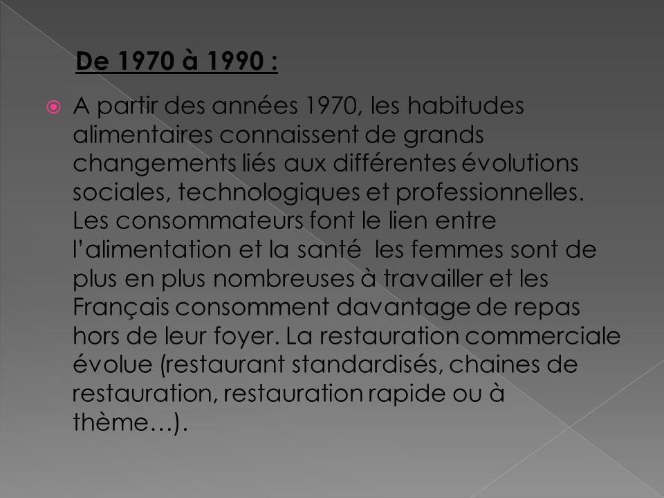 A partir des années 1970, les habitudes alimentaires connaissent de grands changements liés aux différentes évolutions sociales, technologiques et pro