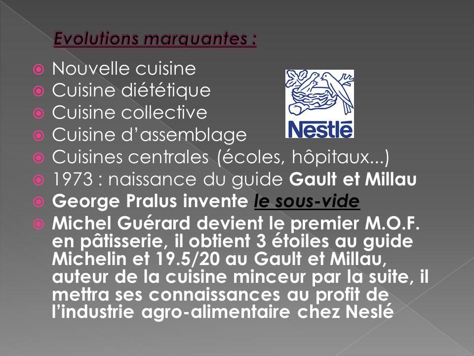 Nouvelle cuisine Cuisine diététique Cuisine collective Cuisine dassemblage Cuisines centrales (écoles, hôpitaux...) 1973 : naissance du guide Gault et