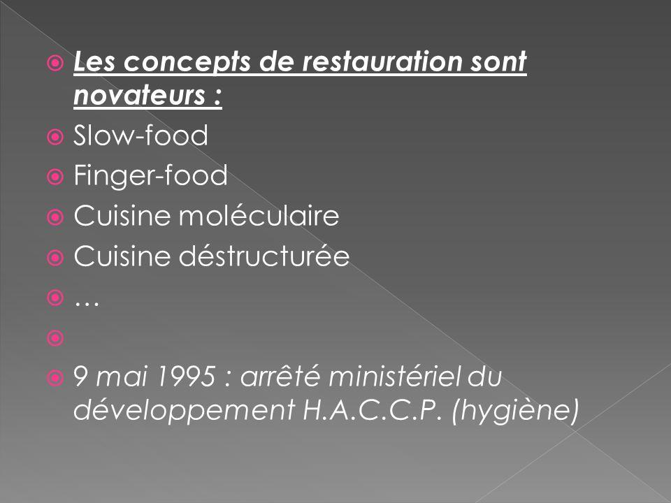 Les concepts de restauration sont novateurs : Slow-food Finger-food Cuisine moléculaire Cuisine déstructurée … 9 mai 1995 : arrêté ministériel du déve