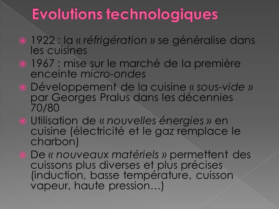 1922 : la « réfrigération » se généralise dans les cuisines 1967 : mise sur le marché de la première enceinte micro-ondes Développement de la cuisine