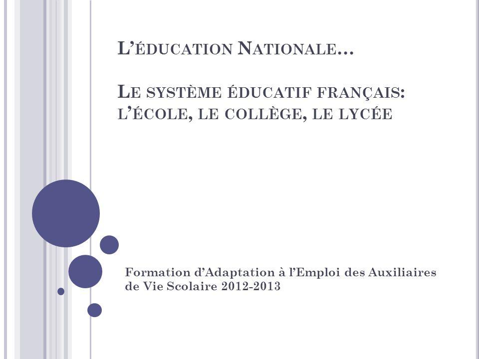L ÉDUCATION N ATIONALE … L E SYSTÈME ÉDUCATIF FRANÇAIS : L ÉCOLE, LE COLLÈGE, LE LYCÉE Formation dAdaptation à lEmploi des Auxiliaires de Vie Scolaire