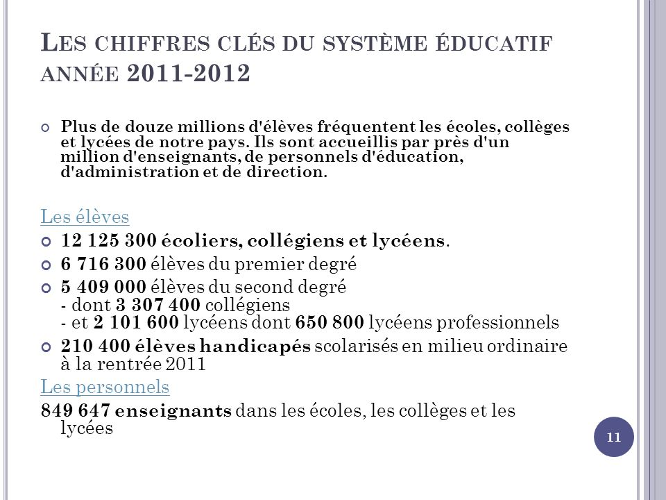 L ES CHIFFRES CLÉS DU SYSTÈME ÉDUCATIF ANNÉE 2011-2012 Plus de douze millions d'élèves fréquentent les écoles, collèges et lycées de notre pays. Ils s