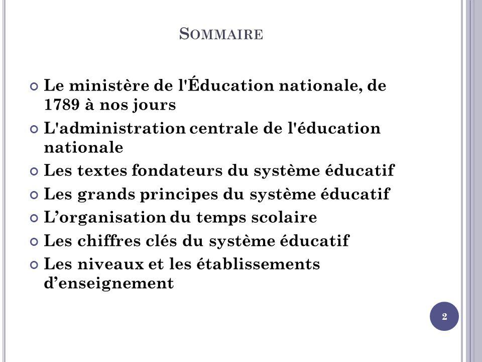 S OMMAIRE Le ministère de l'Éducation nationale, de 1789 à nos jours L'administration centrale de l'éducation nationale Les textes fondateurs du systè