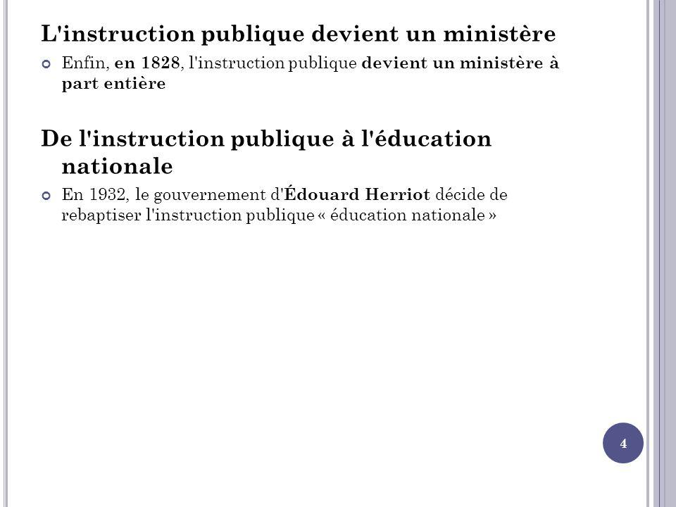 L'instruction publique devient un ministère Enfin, en 1828, l'instruction publique devient un ministère à part entière De l'instruction publique à l'é