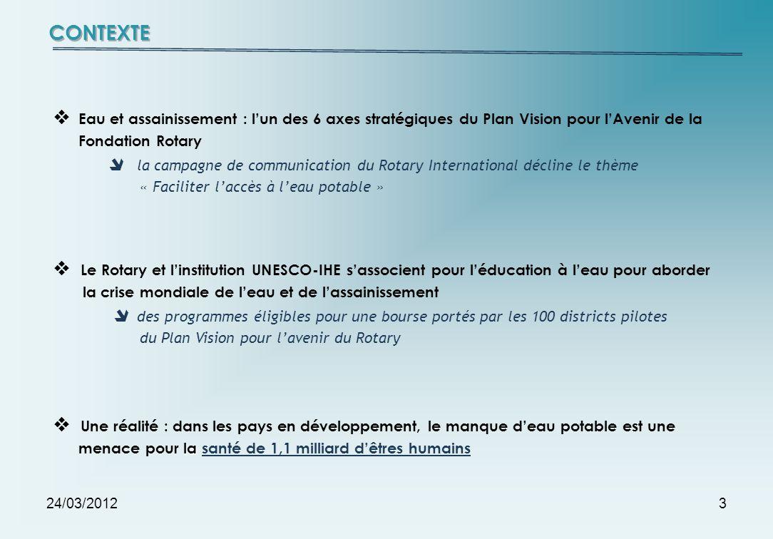 24/03/20123 Eau et assainissement : lun des 6 axes stratégiques du Plan Vision pour lAvenir de la Fondation Rotary la campagne de communication du Rot