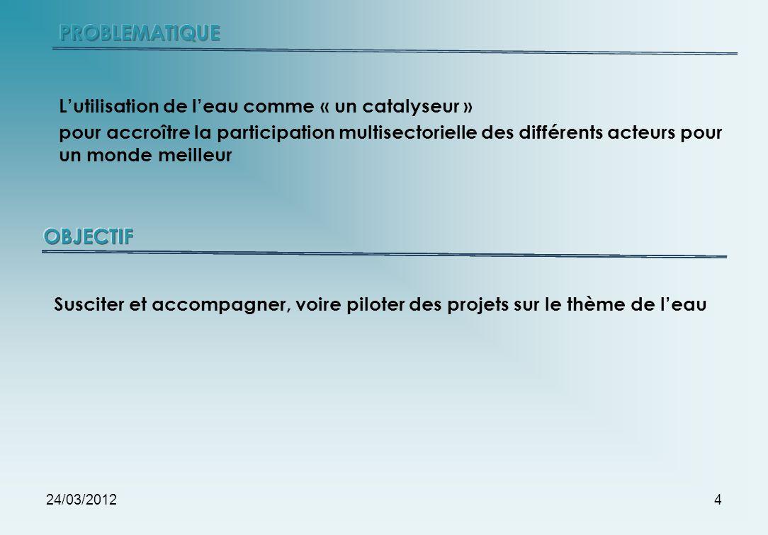 24/03/20124 Lutilisation de leau comme « un catalyseur » pour accroître la participation multisectorielle des différents acteurs pour un monde meilleu