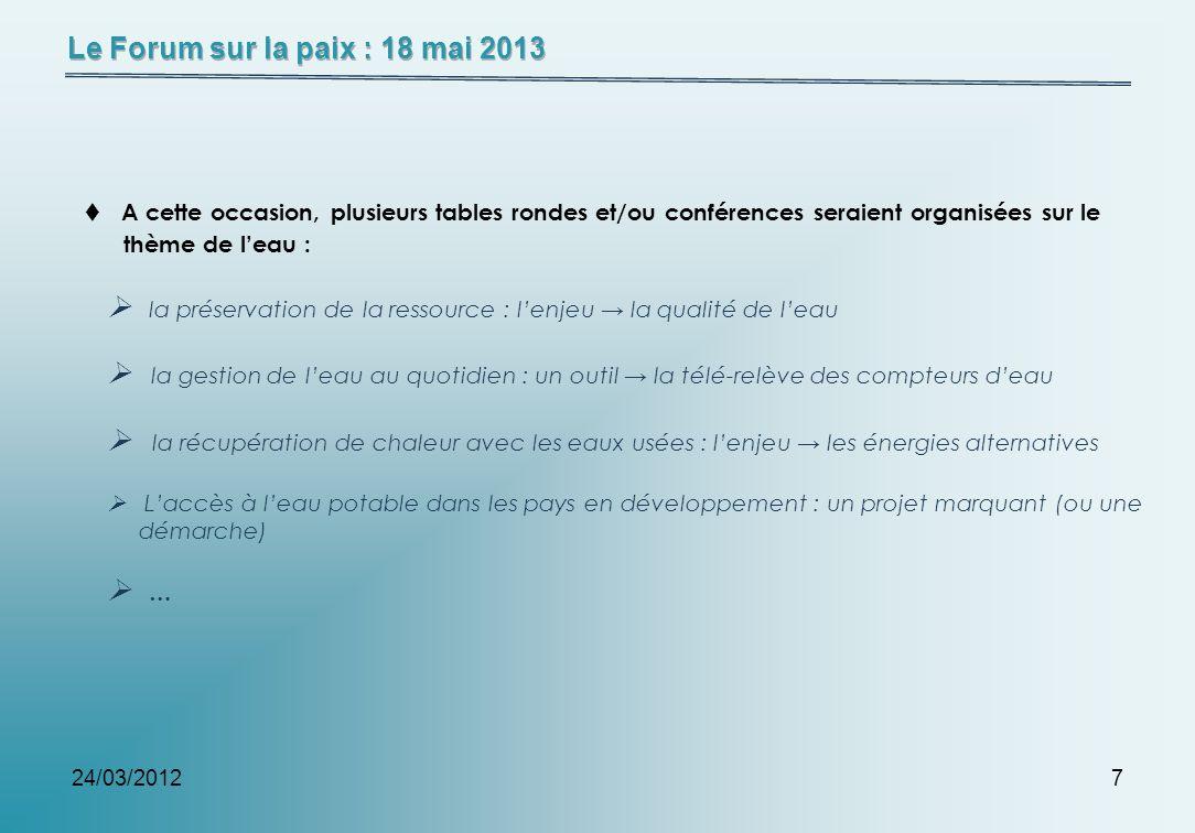 24/03/20127 A cette occasion, plusieurs tables rondes et/ou conférences seraient organisées sur le thème de leau : la préservation de la ressource : l