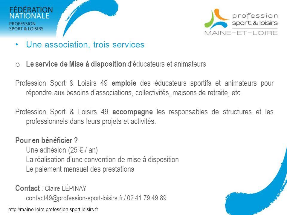 Une association, trois services o Le service de Mise à disposition déducateurs et animateurs Profession Sport & Loisirs 49 emploie des éducateurs spor