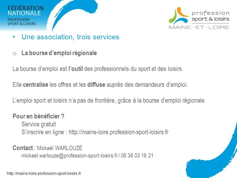 Une association, trois services o La bourse demploi régionale La bourse demploi est loutil des professionnels du sport et des loisirs. Elle centralise