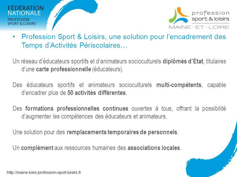 Contact Profession Sport & Loisirs Maine et Loire Maison départementale des sports 7 rue Coubertin – BP 43527 49136 Les Ponts de Cé cedex Tél : 02 41 79 49 89 @ : contact49@profession-sport-loisirs.fr http://maine-loire-profession-sport-loisirs.fr http://maine-loire.profession-sport-loisirs.fr
