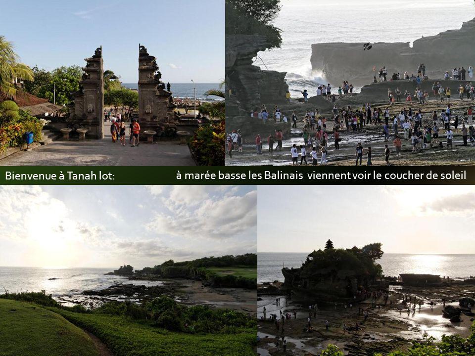 Bienvenue à Tanah lot: à marée basse les Balinais viennent voir le coucher de soleil