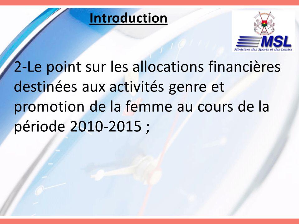 Introduction 2-Le point sur les allocations financières destinées aux activités genre et promotion de la femme au cours de la période 2010-2015 ;