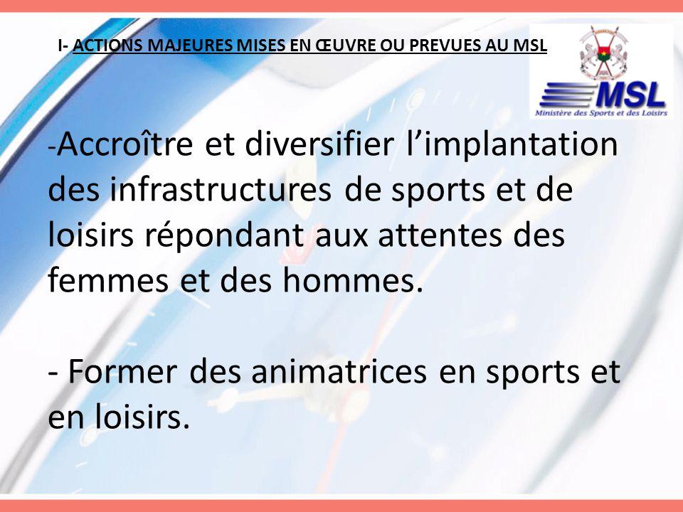 I- ACTIONS MAJEURES MISES EN ŒUVRE OU PREVUES AU MSL - Accroître et diversifier limplantation des infrastructures de sports et de loisirs répondant au