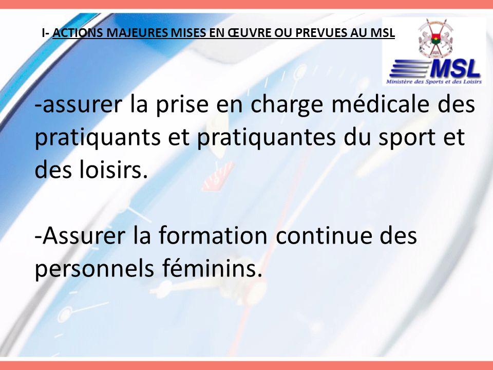 I- ACTIONS MAJEURES MISES EN ŒUVRE OU PREVUES AU MSL -assurer la prise en charge médicale des pratiquants et pratiquantes du sport et des loisirs. -As
