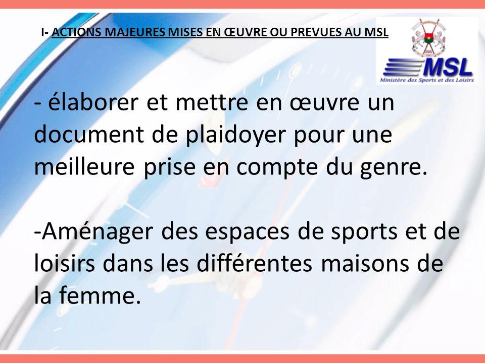 I- ACTIONS MAJEURES MISES EN ŒUVRE OU PREVUES AU MSL -Aménager des espaces de sports et de loisirs dans les différentes maisons de la femme.