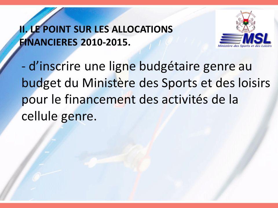 II. LE POINT SUR LES ALLOCATIONS FINANCIERES 2010-2015. - dinscrire une ligne budgétaire genre au budget du Ministère des Sports et des loisirs pour l