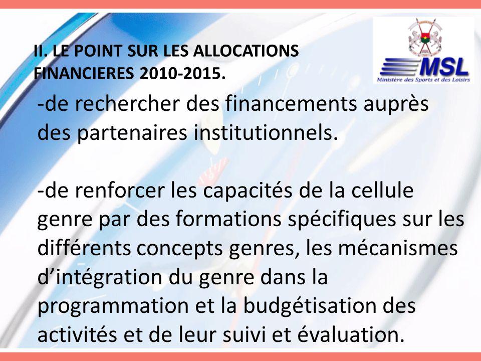 II. LE POINT SUR LES ALLOCATIONS FINANCIERES 2010-2015. -de rechercher des financements auprès des partenaires institutionnels. -de renforcer les capa