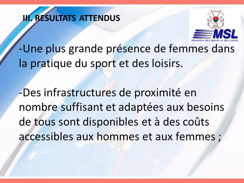 III. RESULTATS ATTENDUS -Une plus grande présence de femmes dans la pratique du sport et des loisirs. -Des infrastructures de proximité en nombre suff