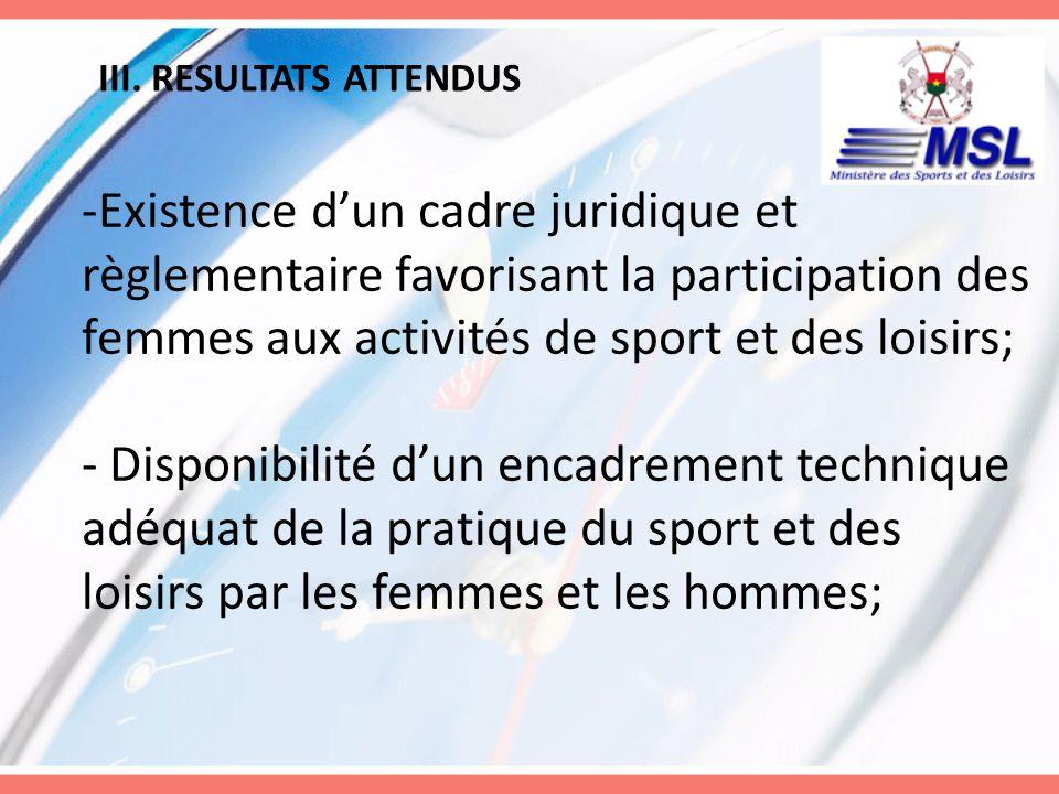 III. RESULTATS ATTENDUS -Existence dun cadre juridique et règlementaire favorisant la participation des femmes aux activités de sport et des loisirs;