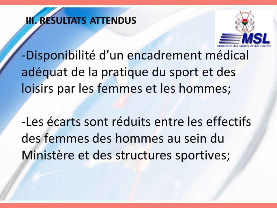 III. RESULTATS ATTENDUS -Disponibilité dun encadrement médical adéquat de la pratique du sport et des loisirs par les femmes et les hommes; -Les écart