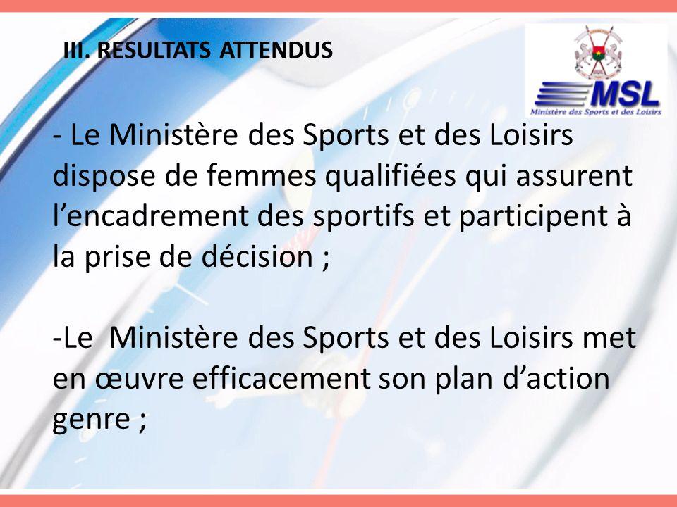 III. RESULTATS ATTENDUS - Le Ministère des Sports et des Loisirs dispose de femmes qualifiées qui assurent lencadrement des sportifs et participent à