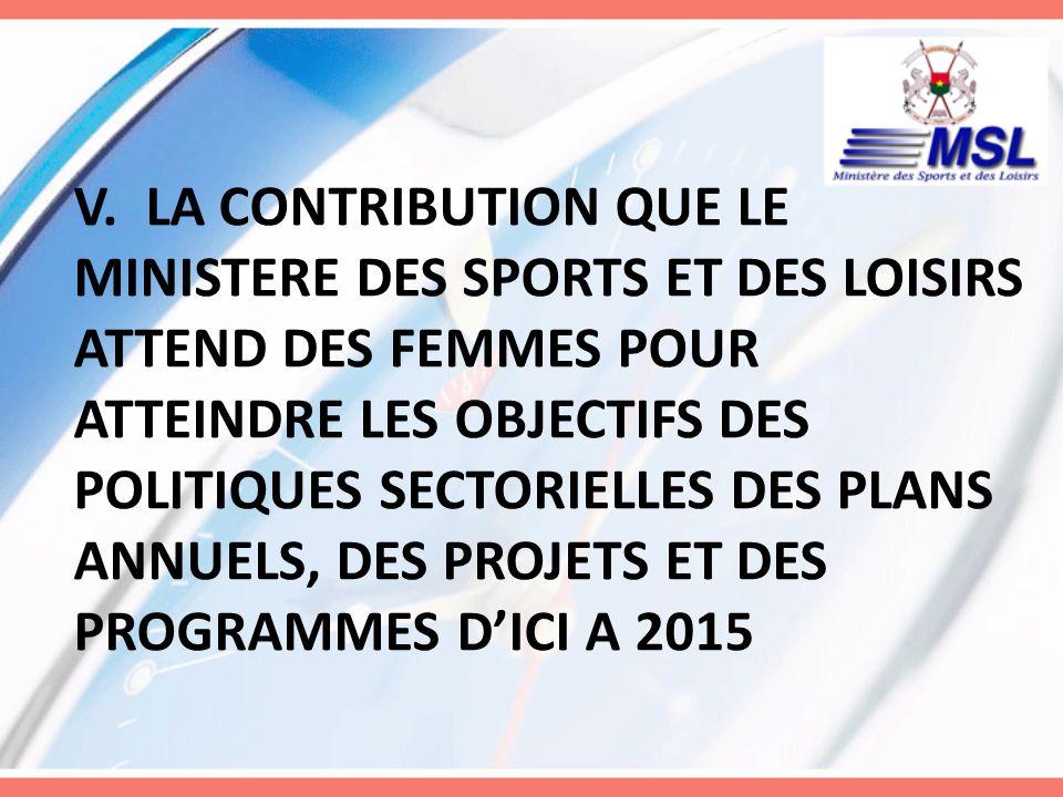 -plus dengagement des femmes pour occuper des postes de responsabilités ; -limplication des femmes leaders politiques dans la promotion des activités sportives et de loisirs en faveur des femmes ; -avoir une vision stratégique à long terme ; V.