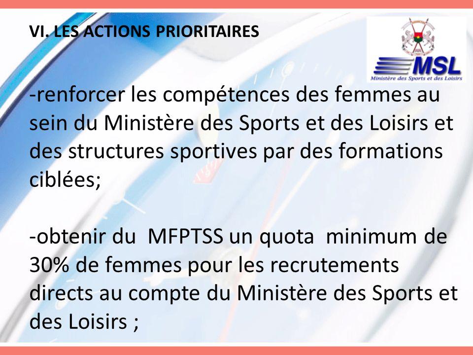 VI. LES ACTIONS PRIORITAIRES -renforcer les compétences des femmes au sein du Ministère des Sports et des Loisirs et des structures sportives par des