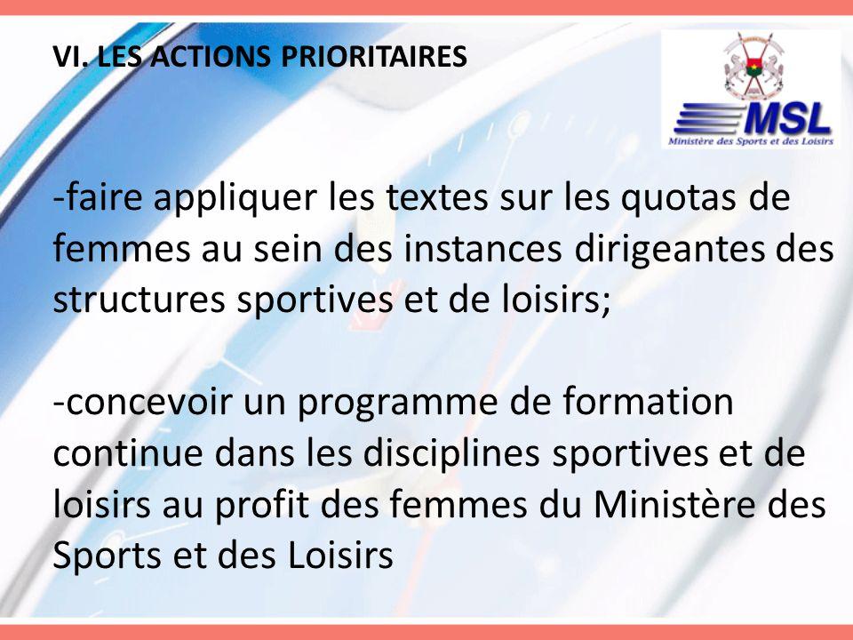 VI. LES ACTIONS PRIORITAIRES -faire appliquer les textes sur les quotas de femmes au sein des instances dirigeantes des structures sportives et de loi