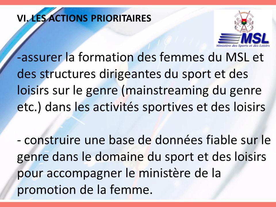 VI. LES ACTIONS PRIORITAIRES -assurer la formation des femmes du MSL et des structures dirigeantes du sport et des loisirs sur le genre (mainstreaming