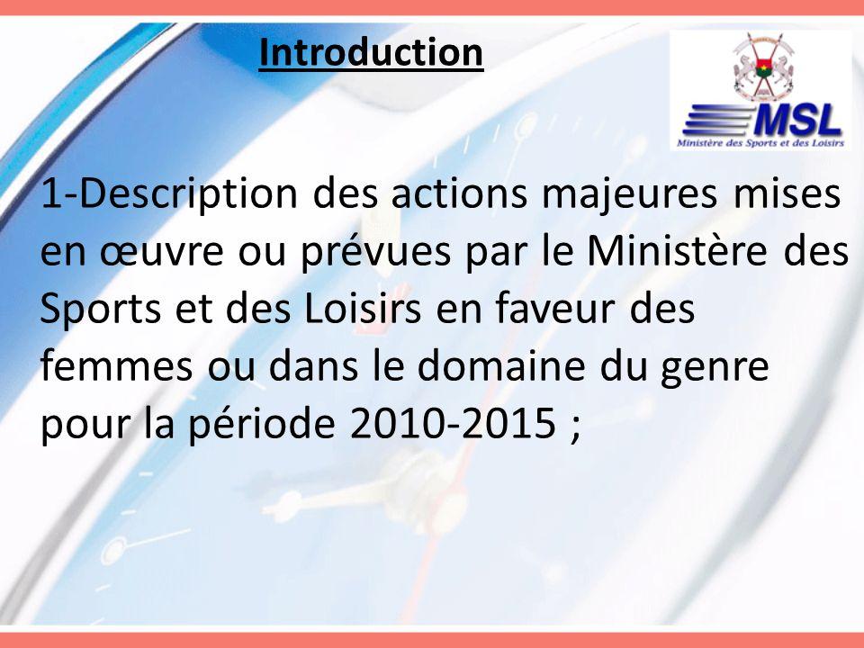 Introduction 1-Description des actions majeures mises en œuvre ou prévues par le Ministère des Sports et des Loisirs en faveur des femmes ou dans le d