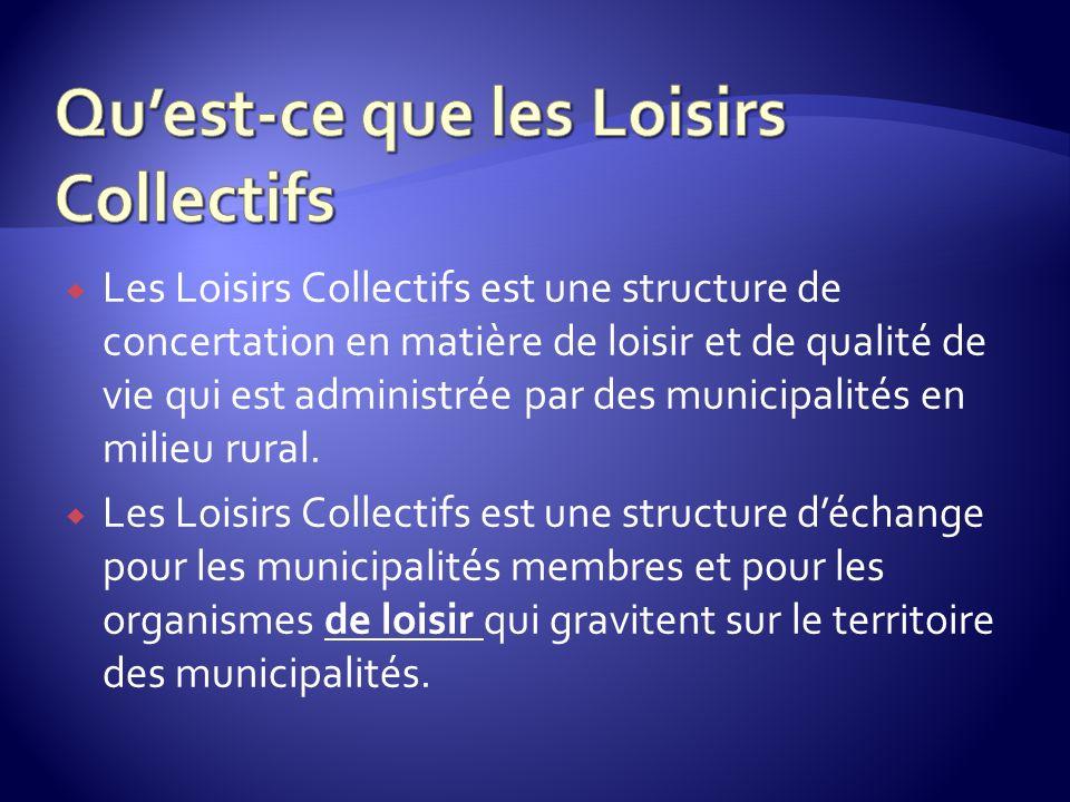 Les Loisirs Collectifs est une structure de concertation en matière de loisir et de qualité de vie qui est administrée par des municipalités en milieu rural.