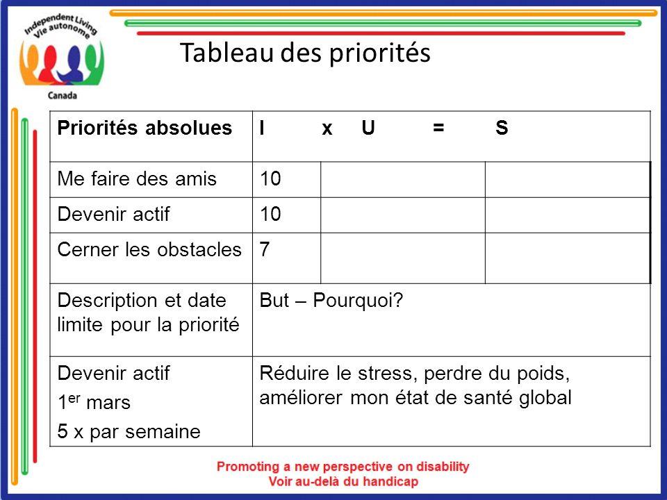 Tableau des priorités Priorités absoluesI x U = S Me faire des amis10 Devenir actif10 Cerner les obstacles7 Description et date limite pour la priorit