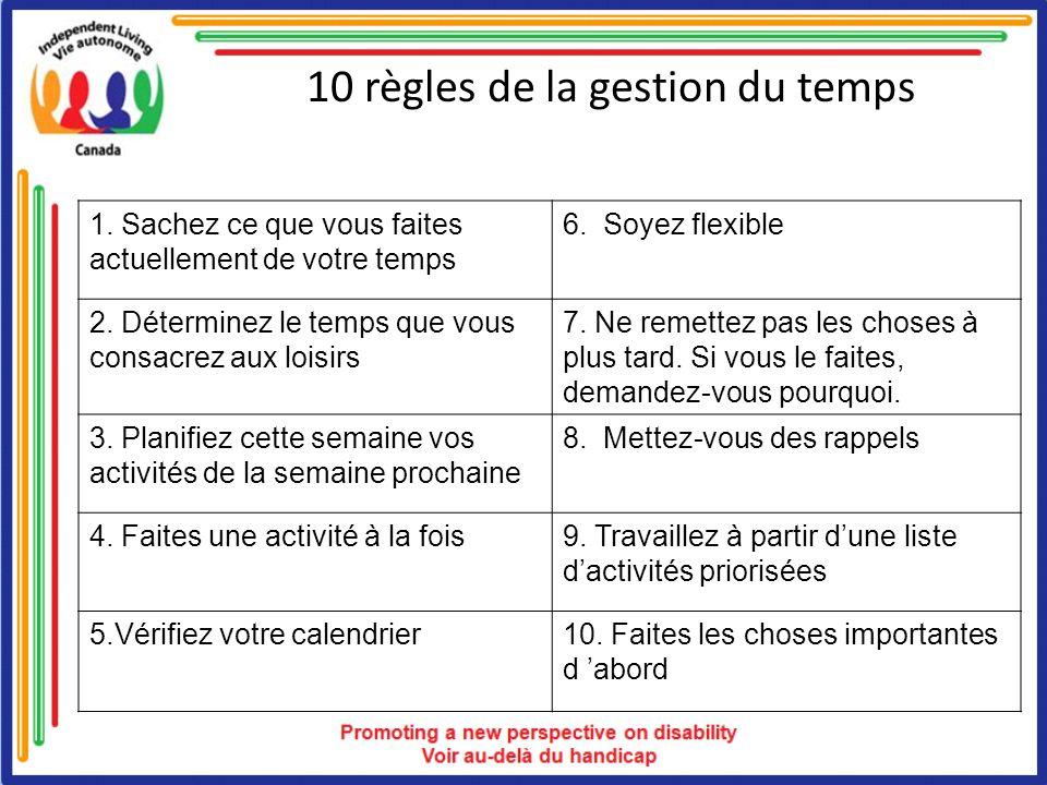 10 règles de la gestion du temps 1. Sachez ce que vous faites actuellement de votre temps 6. Soyez flexible 2. Déterminez le temps que vous consacrez