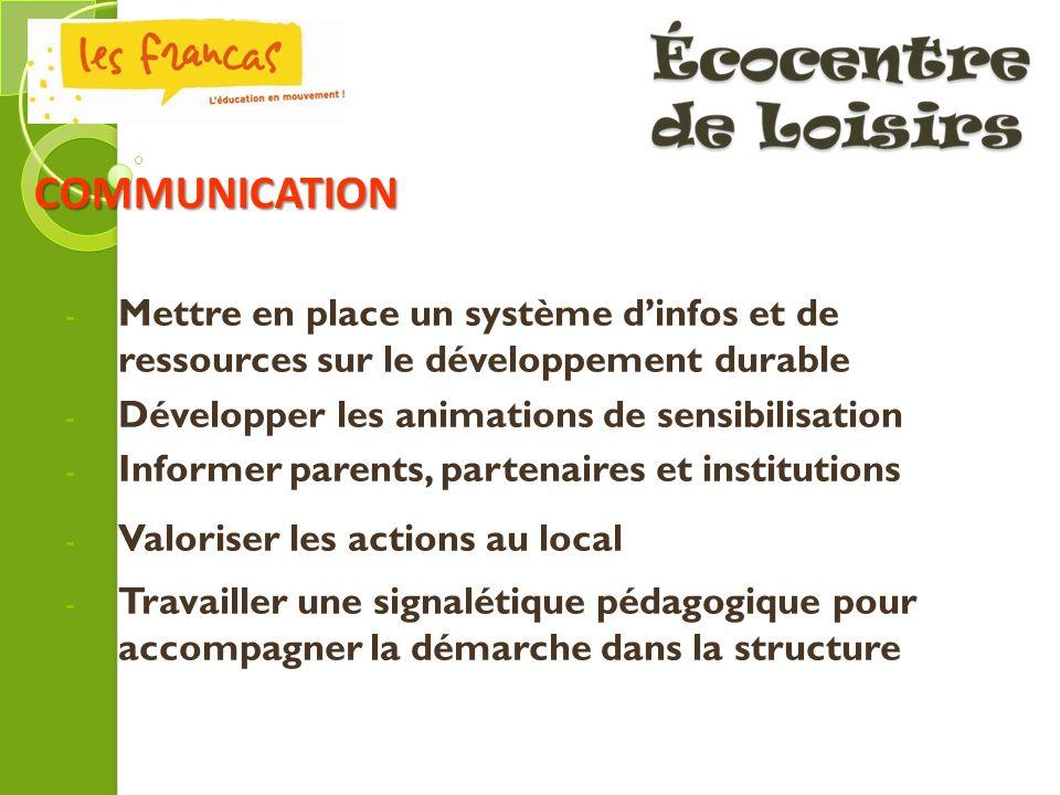 - Mettre en place un système dinfos et de ressources sur le développement durable - Développer les animations de sensibilisation - Informer parents, p