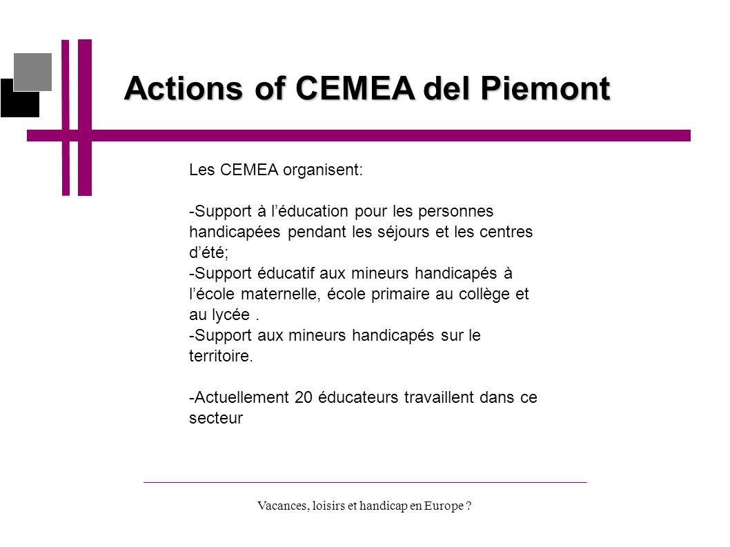 Vacances, loisirs et handicap en Europe ? Actions of CEMEA del Piemont Les CEMEA organisent: -Support à léducation pour les personnes handicapées pend