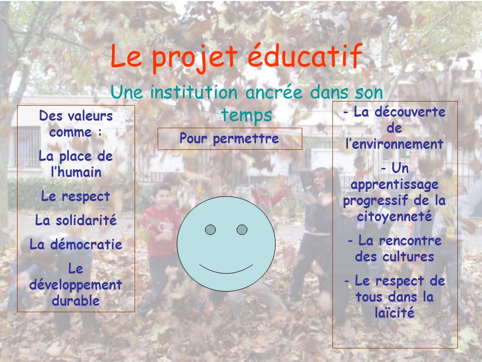Le projet éducatif Une institution ancrée dans son temps Des valeurs comme : La place de lhumain Le respect La solidarité La démocratie Le développeme