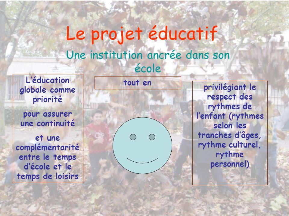 Le projet éducatif Une institution ancrée dans son école Léducation globale comme priorité pour assurer une continuité et une complémentarité entre le