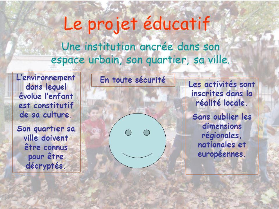 Le projet éducatif Une institution ancrée dans son espace urbain, son quartier, sa ville. Lenvironnement dans lequel évolue lenfant est constitutif de