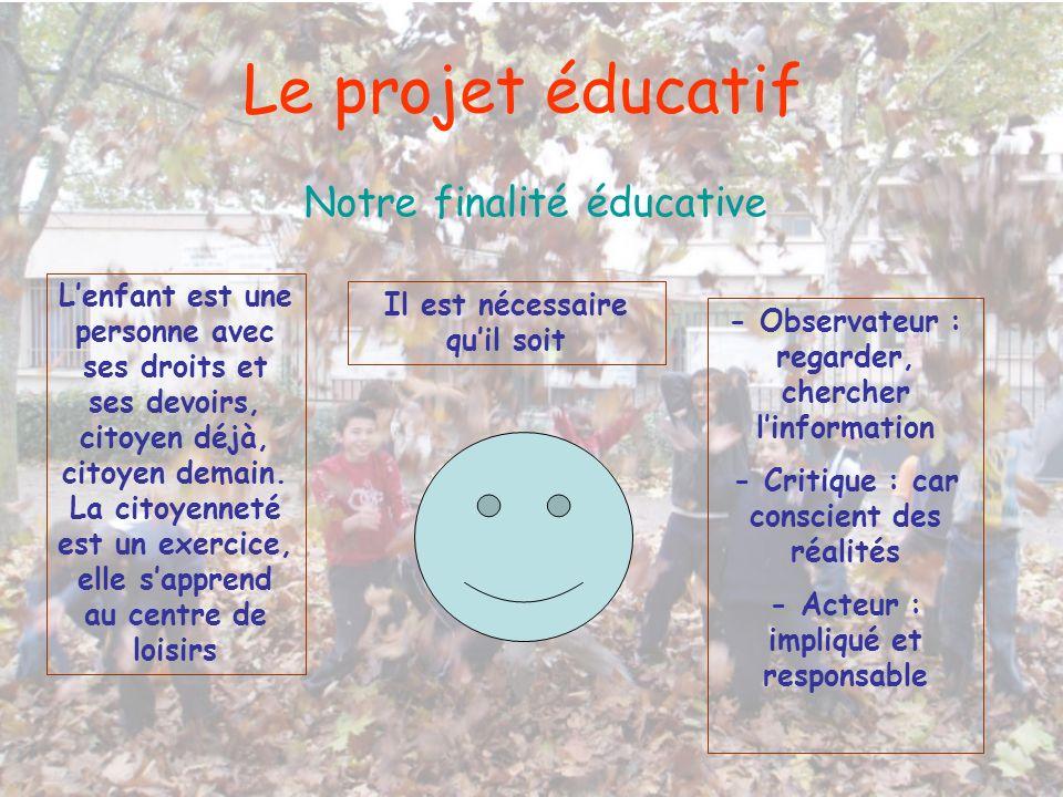 Le projet éducatif Notre finalité éducative Lenfant est une personne avec ses droits et ses devoirs, citoyen déjà, citoyen demain. La citoyenneté est