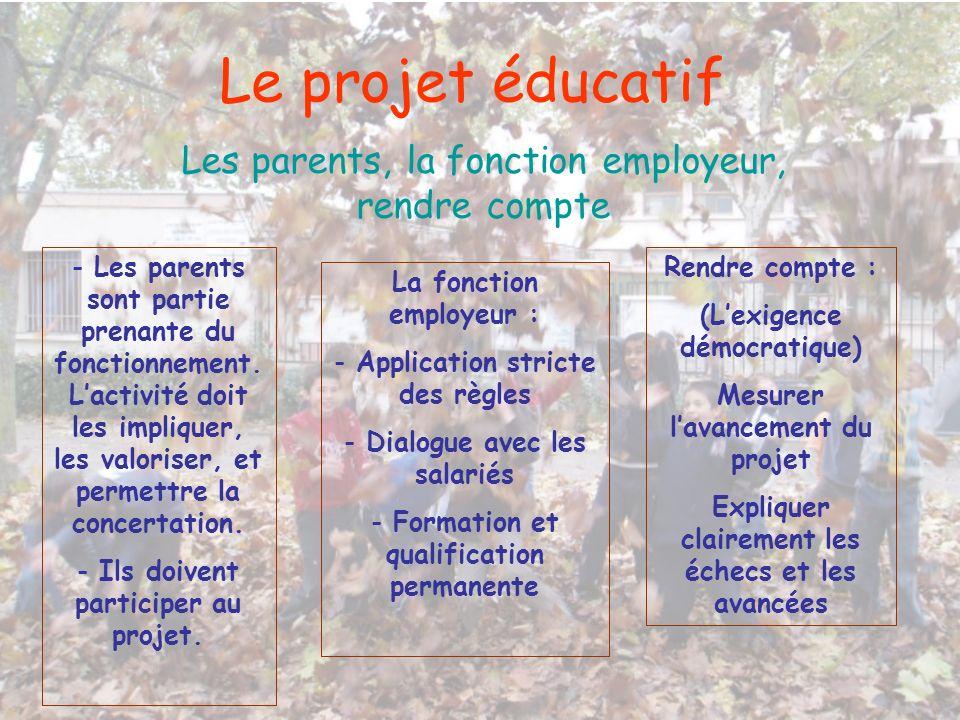 Le projet éducatif Les parents, la fonction employeur, rendre compte - Les parents sont partie prenante du fonctionnement. Lactivité doit les implique