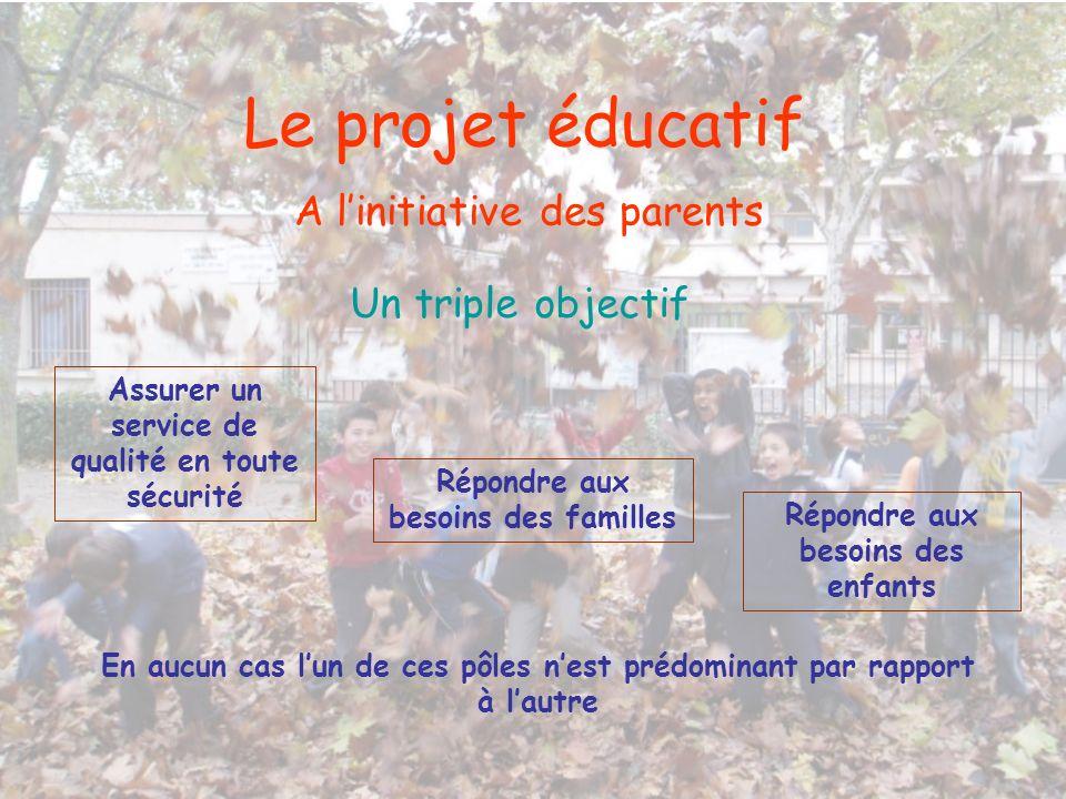 Le projet éducatif A linitiative des parents Un triple objectif Assurer un service de qualité en toute sécurité Répondre aux besoins des familles Répo