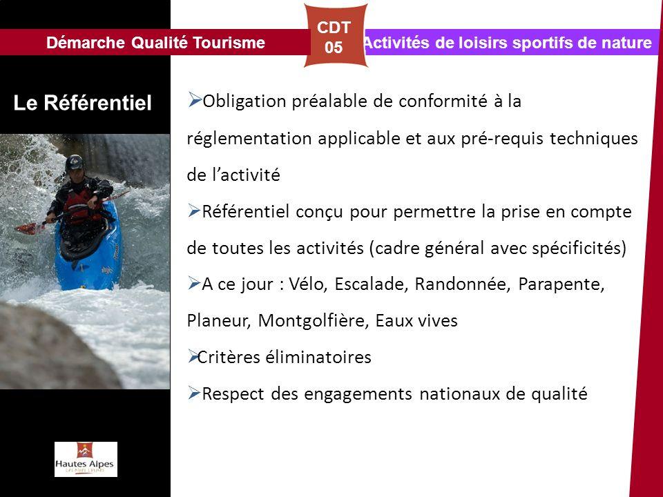 Assistance Activités de loisirs sportifs de nature Le Référentiel CDT 05 Obligation préalable de conformité à la réglementation applicable et aux pré-