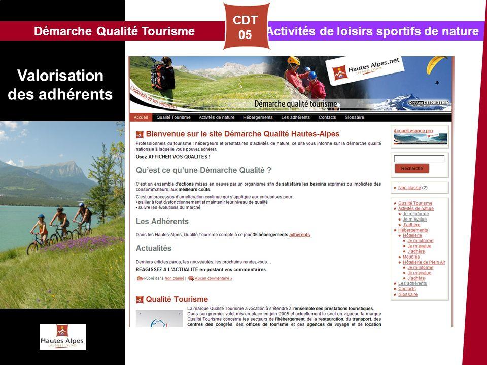 Activités de loisirs sportifs de natureDémarche Qualité Tourisme CDT 05 Valorisation des adhérents