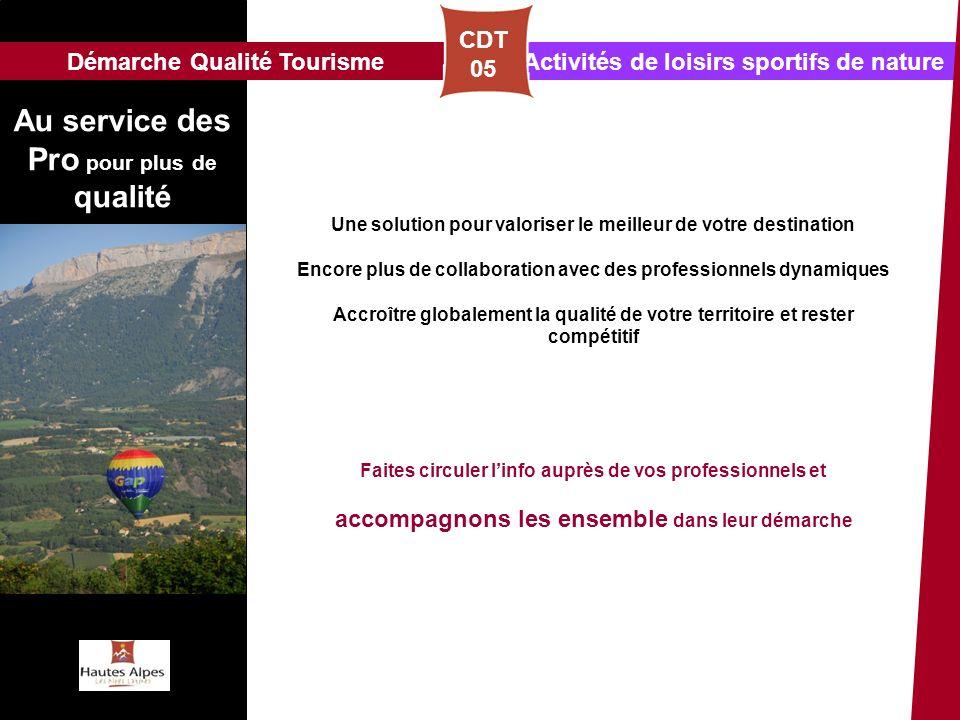Activités de loisirs sportifs de natureDémarche Qualité Tourisme CDT 05 Une solution pour valoriser le meilleur de votre destination Encore plus de co