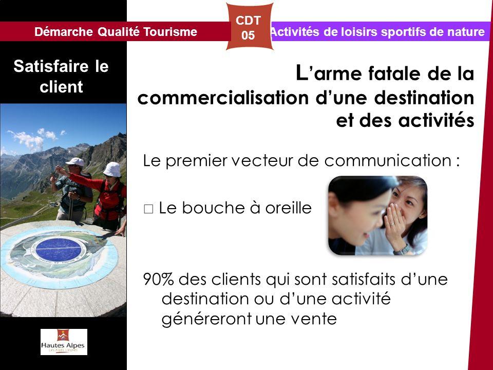 Activités de loisirs sportifs de nature CDT 05 Satisfaire le client L arme fatale de la commercialisation dune destination et des activités Le premier