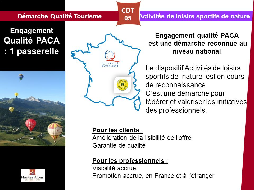Activités de loisirs sportifs de nature CDT 05 Engagement Qualité PACA : 1 passerelle Pour les clients : Amélioration de la lisibilité de loffre Garan