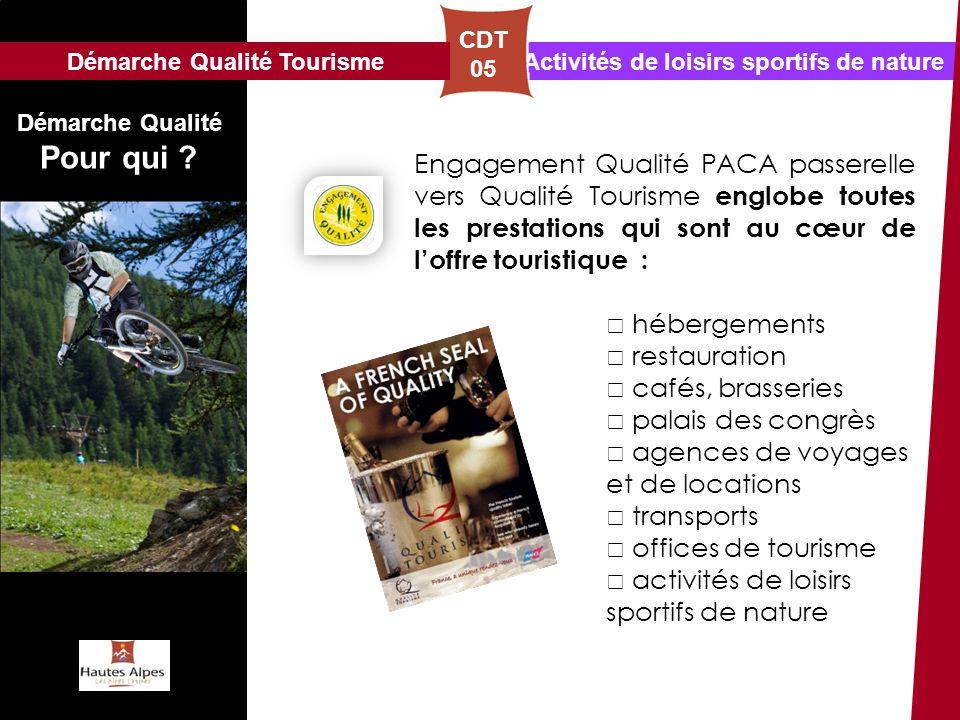 Activités de loisirs sportifs de nature CDT 05 Démarche Qualité Pour qui ? Engagement Qualité PACA passerelle vers Qualité Tourisme englobe toutes les