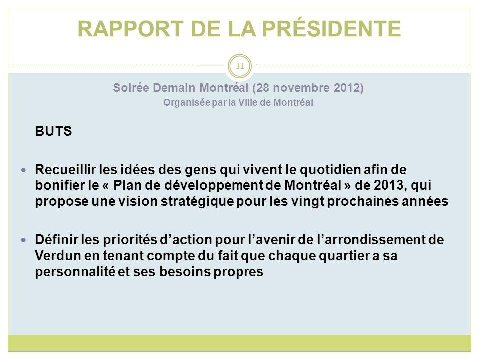 RAPPORT DE LA PRÉSIDENTE Soirée Demain Montréal (28 novembre 2012) Organisée par la Ville de Montréal BUTS Recueillir les idées des gens qui vivent le